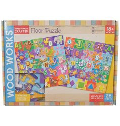 Brightly coloured wooden floor puzzle - letters or numbers / shapes theme. When complete measures approx 45.5 x 45.5 cm