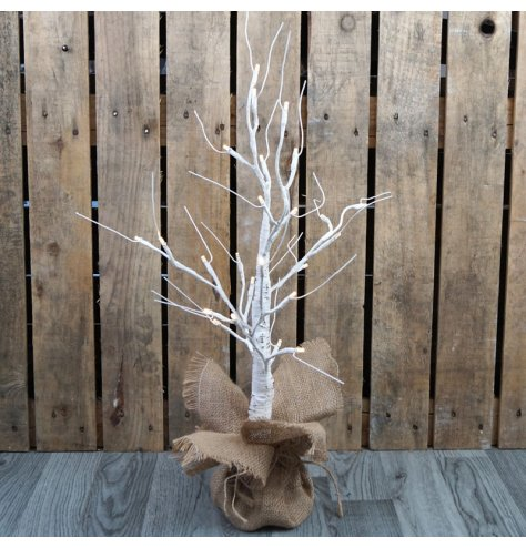 A plain and simple white birch tree with added warm white glowing LED branch tips and placed in a hessian bag to finish