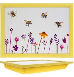 A smooth white plastic serving tray with a beautifully printed Busy Bee Garden themed decal and yellow cushioned base