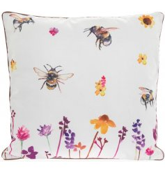A plush and plump square cushion with a beautifully printed Busy Bee Garden themed decal