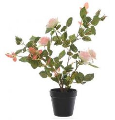Set within a plastic pot, this tall standing Artificial Rose Bush will be sure to add a traditional sense to any decor
