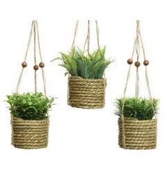 A mix of artificial greenery plants fitted within woven hanging planters