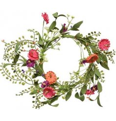 this delightful round wreath will be sure to add a Spring feel to any front door