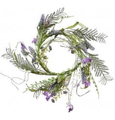 A delicate artificial lavender wreath with pretty stems and entwining vines