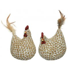 A mix of 2 rustic decorative chicken ornaments, each with a unique pattern and feather tails.