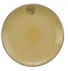 A cheerfully coloured dinner plate complete with a smooth glazing finish and added floral mandala print