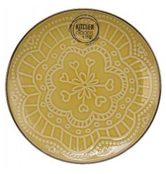 A simple yet beautiful stoneware plate featuring a cheerful yellow tone and embossed floral mandala pattern