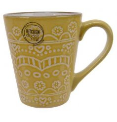 , this mug also displays a beautiful floral mandala decal and smooth glaze finish