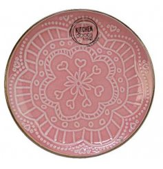 Covered with a pretty pink tone, this quirky plate also displays a beautiful floral mandala decal and smooth glaze fini