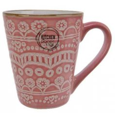 this quirky bright mug also displays a beautiful floral mandala decal and smooth glaze finish