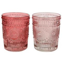 Pretty pink toned Cocktail Tumblers with added patterned ridged decals