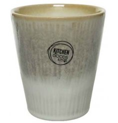 An on trend stoneware mug with clean lines. A chic natural and white glazed product for laid back living.