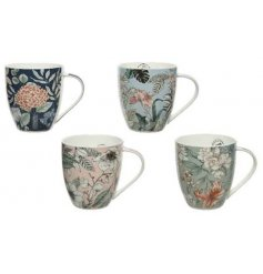 An assortment of 4 large porcelain mugs with a bold floral design in pretty pastel colours.