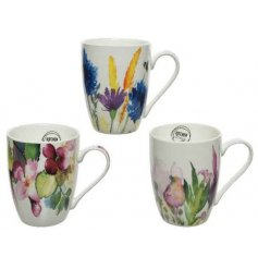 An assortment of 3 porcelain mugs, each with a bold and bright floral watercolour motif.