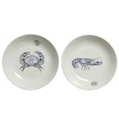 An assortment of 2 XL porcelain serving plates with a bold and graphic crab and lobster design.