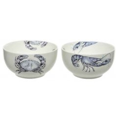 A mix of 2 charming coastal inspired bowls with a graphic lobster and crab design.