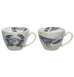 An assortment of 2 porcelain mugs with a charming coastal design. Each features a lobster or crab illustration.