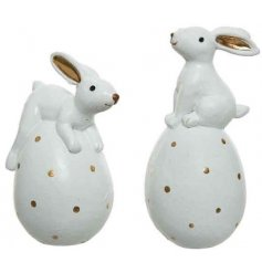 An assortment of posed bunnies atop golden dotted eggs