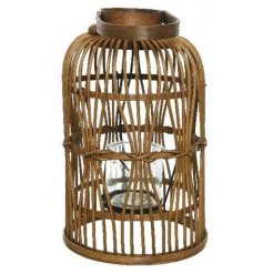 A chic and sophisticated bamboo lantern with a woven pattern and handle.