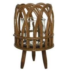A stylish lantern with a decorative woven design and wooden feet. An on trend interior accessory for the home.