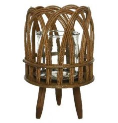 An attractive wooden lantern with a curved woven design and legs.