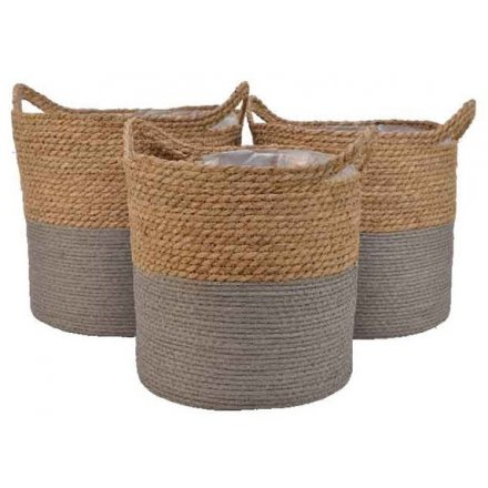 Woven Planter Set, Grey