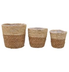 A set of 3 natural two-tone woven baskets in assorted sizes. Each is complete with lining and has a rustic finish.