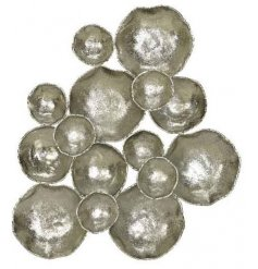 Modern iron wall decoration made up of various sized bubbles. Approx size 107 x 86 cm