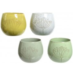 A colourful mix of pastel toned terracotta pots, each decorated with its own distressed decals