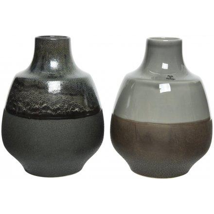 Earthenware Round Vases, 2asst