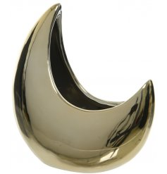 A crescent moon shaped planter with a metallic gold coating