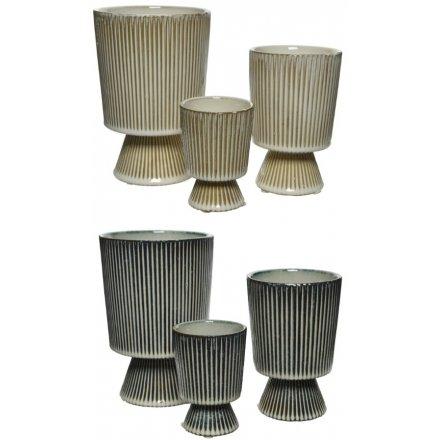 Stripe Stoneware Planter, 2a
