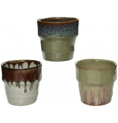 An assortment of 3 mini stoneware planters with a distinct colour glaze finish.
