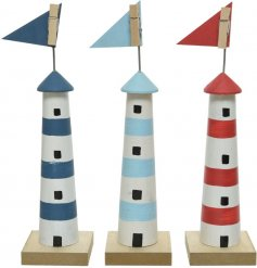 Assorted by their Coastal colour schemes, this mix of tall standing wooden lighthouses also feature peg tops for photo h