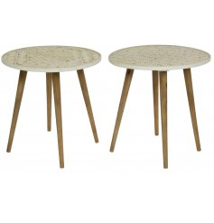 An assortment of 2 stylish tables with decorative rattan table tops in a mix of 2 patterns.