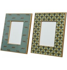 A mix of 2 luxury living photo frames with a wild jaguar and art deco design in opulent colours.