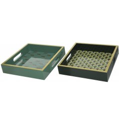 A mix of MDF based wooden trays, each set with its own quirky printed decal