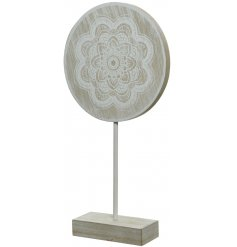A natural wooden Disc Statue featuring a distressed washed decal and added mandala patterned finish