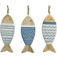 Bring a Nautical touch to any space with this mix of 3 hanging wooden fishes
