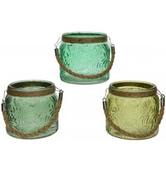 A mix of 3 small glass lanterns each featuring a greenery leaf decal and chunky rope handle