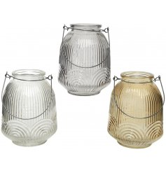 these ridged glass candle pots will be sure to add a simplistic charm to any decor of the home