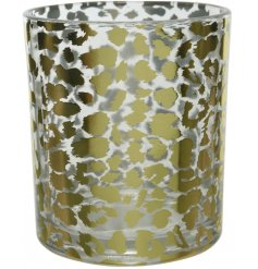A small glass tlight holder featuring a golden leopard print decal