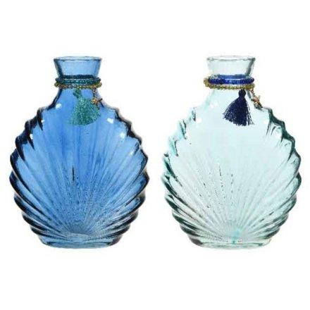 Assorted Blue Shell Vases, 17cm