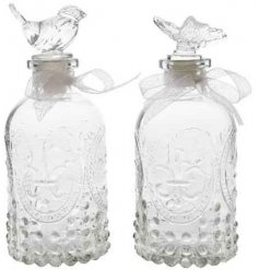 A chic and charming mix of ridged glass bottles, complete with added toppers and a ribbon decal