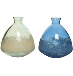 A mix of Recycled Glass Vases, set with assorted colourings and distressed markings