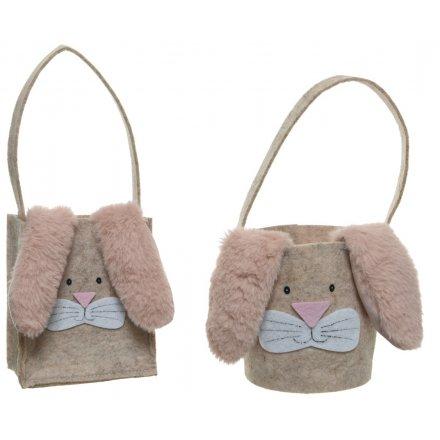 Easter Bunny Felt Bags, 2asst