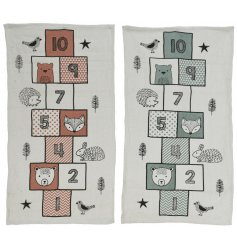 A mix of 2 charming rugs featuring a children's popular hopscotch game with adorable woodland animals.