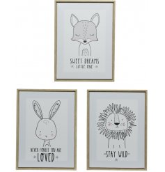 Wild Animal Framed Prints, 3asst   A mix of 3 sweetly scripted printed plaques with added wooden frames