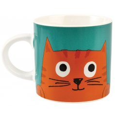 A quirky blue toned mug with an added Ginger Cat print