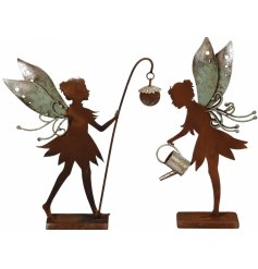 A mix of 2 decorative garden ornaments, each with a distressed rustic finish.